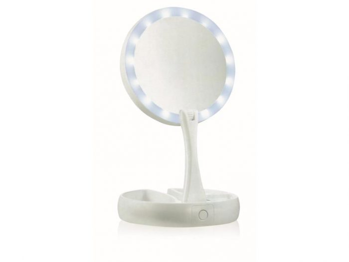 Πτυσσόμενος Μεγεθυντικός καθρέπτης 2 Όψεων με Μεγέθυνση 10x με Φωτισμό LED και τροφοδοσία USB