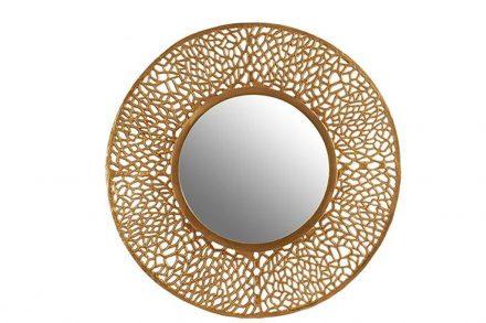 Στρογγυλός καθρέφτης με χρυσή πλέξη περιμετρικά