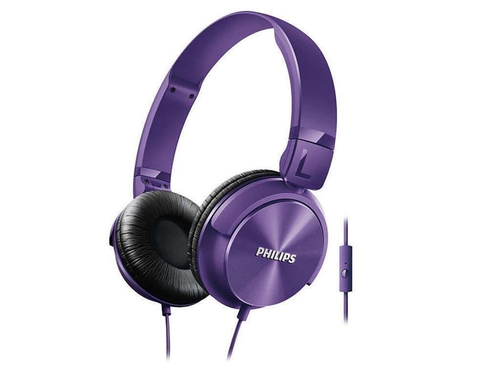 Philips Αναδιπλούμενα Στερεοφωνικά Ακουστικά με Μικρόφωνο 106 dB σε Μωβ χρώμα