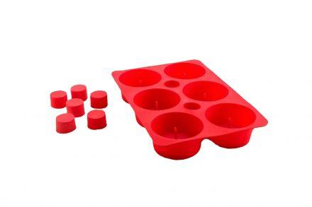 Φόρμα Σιλικόνης Καλούπι για 6 Κέικ Cupcakes σε Κόκκινο χρώμα