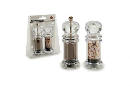 Σετ 2 τεμαχίων Μύλος άλεσης μπαχαρικών και Δοχείο για αλάτι ή πιπέρι διαστάσεων 4x4x11cm