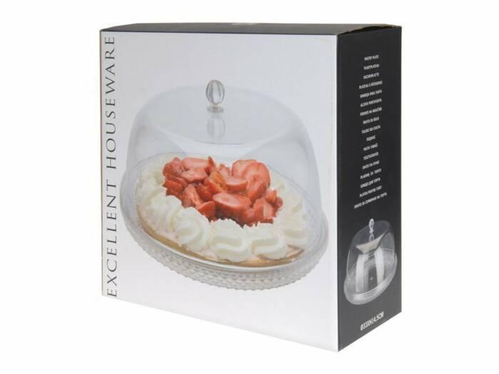 Τουρτιέρα 33cm Πιατέλα και καπάκι στυλ Καμπάνας για σερβίρισμα κέικ και άλλων σνακ 33x14.5cm