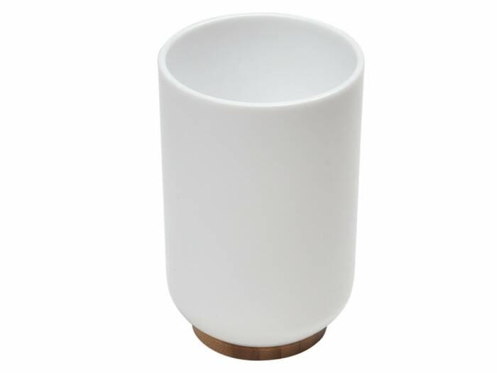 Πλαστικό Δοχείο Μπάνιου για Οδοντόβουρτσες με ξύλινη βάση από Bamboo
