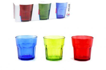 Σετ ποτήρια νερού 3 τεμαχίων σε 3 διαφορετικά χρώματα χωρητικότητας 250ml - Anilar