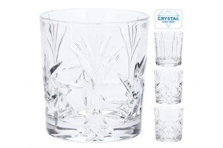 Κρυστάλλινα Ποτήρια Νερού 300ml σετ 4 τεμαχίων με ανάγλυφα σχέδια