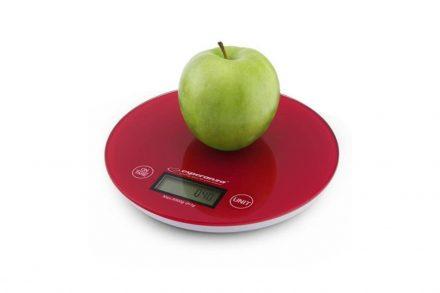 Esperanza Ψηφιακή Γυάλινη Στρογγυλή Ζυγαριά Κουζίνας Ακριβείας Mango 20cm έως 5Kg σε Κόκκινο χρώμα