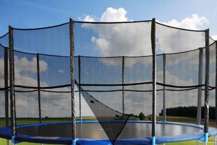 Δίχτυ Ασφαλείας για τραμπολίνο Διαμέτρου 5m και ύψους 1.80m με 12 θήκες για στύλους σε μαύρο χρώμα -