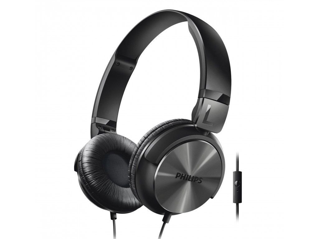 Philips Αναδιπλούμενα Στερεοφωνικά Ακουστικά με Μικρόφωνο σε Μαύρο χρώμα