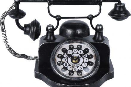 Μεταλλικό Επιτραπέζιο Ρολόι σε σχήμα vintage τηλεφώνου