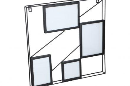Μεταλλική πολυκορνίζα τοίχου για 4 φωτογραφίες σε Τετράγωνη μεταλλική κατασκευή