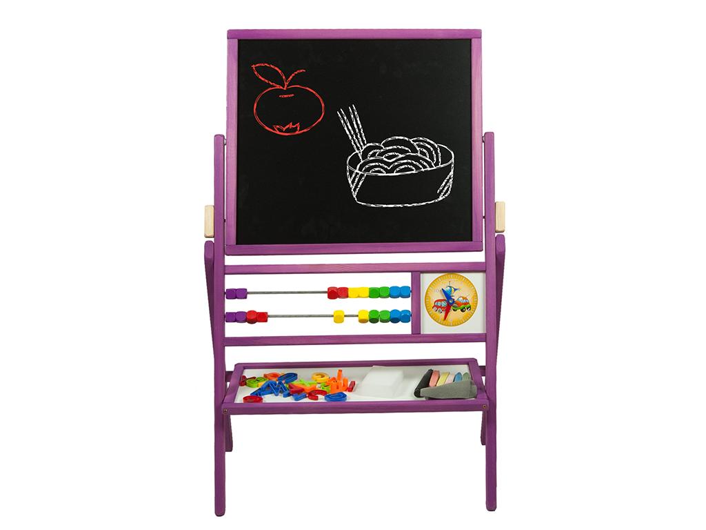 Παιδικός Μαυροπίνακας και Μαγνητικός Πίνακας Περιστρεφόμενος 2 όψεων με εκπαιδευτικά αξεσουάρ και Ξύλινο Σκελετό