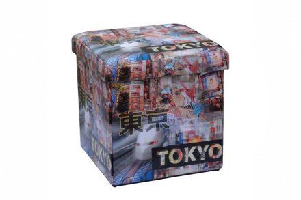 Homa 267 Σκαμπό Πτυσσόμενο με Αποθηκευτικό Χώρο με θέμα Tokyo 38x38x38cm - Homa
