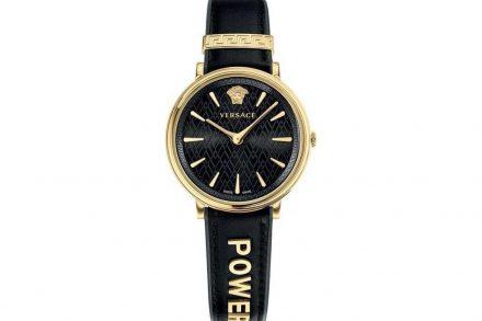 Versace Γυναικείο Ρολόι Χειρός 38mm με δερμάτινο λουράκι σε μαύρο χρώμα