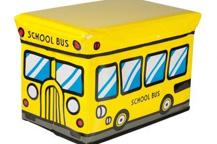 Κουτί Αποθήκευσης παιχνιδιών Παιδικό Σκαμπό κάθισμα Σχολικό Λεωφορείο σε Κίτρινο Χρώμα