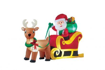 Διακοσμητικός Φωτιζόμενος Φουσκωτός Άγιος Βασίλης με Έλκηθρο και τάρανδο