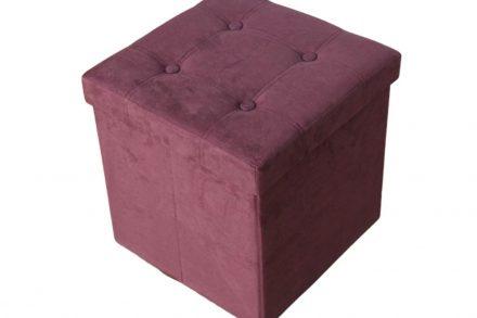 Homa Σκαμπό Πτυσσόμενο 38x38x38 εκατοστά με αποθηκευτικό χώρο και επένδυση σουέτ σε δαμασκηνί χρώμα 579 - Homa