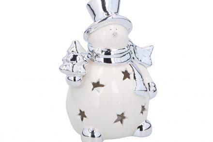 Χριστουγεννιάτικο Διακοσμητικό Κηροπήγιο για Ρεσώ Χιονάνθρωπος