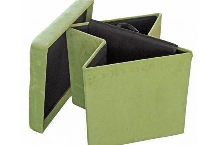 Homa Σκαμπό πτυσσόμενο 38x38x38 εκατοστά με αποθηκευτικό χώρο και επένδυση σουέτ σε πράσινο χρώμα 583 - Homa