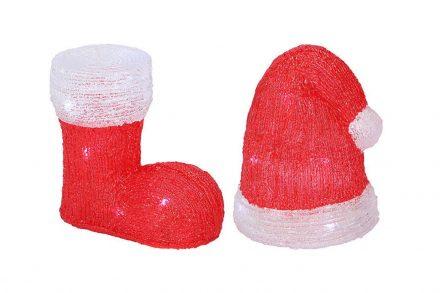 Χριστουγεννιατικα διακοσμητικά Φωτιστικά Led σε σχέδιο Σκούφος και Μπότα του Αιβασίλη