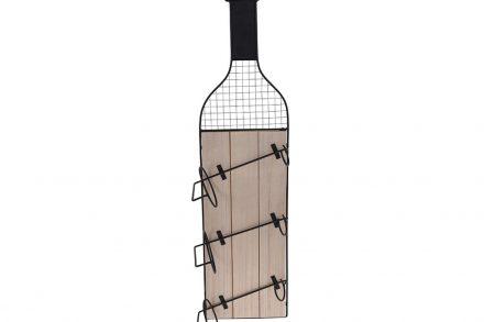 Ξύλινη επιτοίχια Μπουκαλοθήκη 3 θέσεων - Κάβα Κρασιών σε σχήμα Μπουκάλι