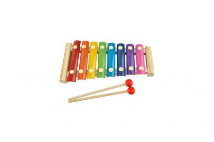 Παιδικό Ξύλινο Ξυλόφωνο με 8 μεταλλικές πλάκες νότες για εκμάθηση τόνων και μουσικής - Cb