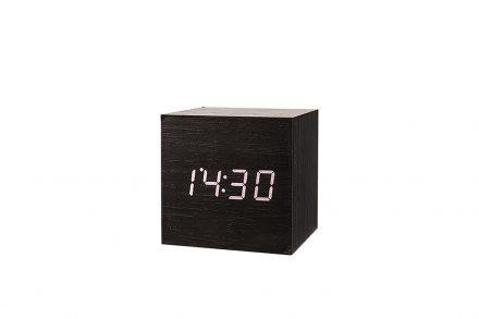 Επιτραπέζιο Μίνιμαλ Μοντέρνο Ρολόι Ξυπνητήρι Κύβος με Θερμόμετρο και Ημερομηνία 6.5x6.5cm σε Μαύρο χρώμα