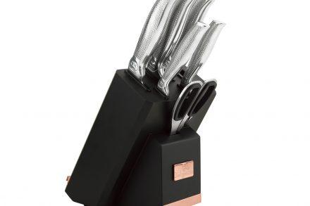 Berlinger Haus Σετ Μαχαίρια Κουζίνας Ανοξείδωτα  8 τεμ. με ενσωματωμένο ακονιστήρι και κομψή Ξύλινη Βάση Στήριξης με θέση για Βιβλίο συνταγών - Tablet