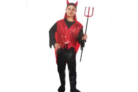 Αποκριάτικη Ανδρική στολή διάβολος με κόκκινο Γιλέκο Παντελόνι και Υφασμάτινες κάλλυμα σε σχήμα μπότας