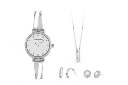Pierre Cardin Σετ Συλλογή Κοσμημάτων με Γυναικείο Ρολόι σε ασημί χρώμα