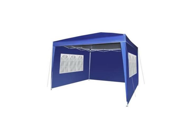 Gazebo Πτυσσόμενο Αδιάβροχο Κιόσκι Τέντα Partytent 3x3cm με Μεταλλικό σκελετό και Τσάντα Μεταφοράς σε Μπλε Χρώμα