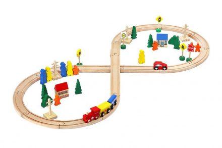 Σετ Ξύλινος Σιδηροδρομικός Σταθμός 50 τεμαχίων