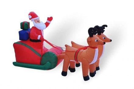 Διακοσμητικός Φουσκωτός Φωτιζόμενος Άγιος Βασίλης με έλκηθρο και ταράνδους
