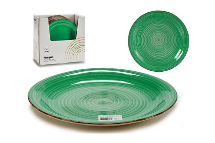 Στρογγυλό Επίπεδο Πιάτο από Πορσελάνη σε πράσινο χρώμα