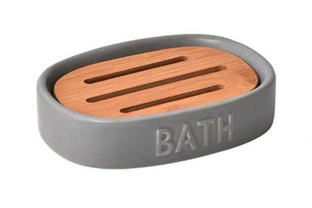 Σαπουνοθήκη Μπάνιου από Δολομίτη λίθο και ξύλο Bamboo