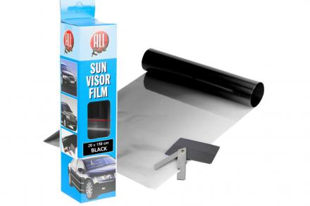 All Ride Solar Αντηλιακή Μεμβράνη Λωρίδα Ιδανική για παρμπρίζ Αυτοκίνητο Φιλμ σε Ρολό Black 20x150cm