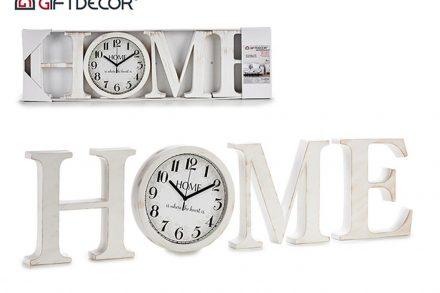 """Ξύλινο Επιτοίχιο Ρολόι """"HOME"""" σε λευκό χρώμα"""