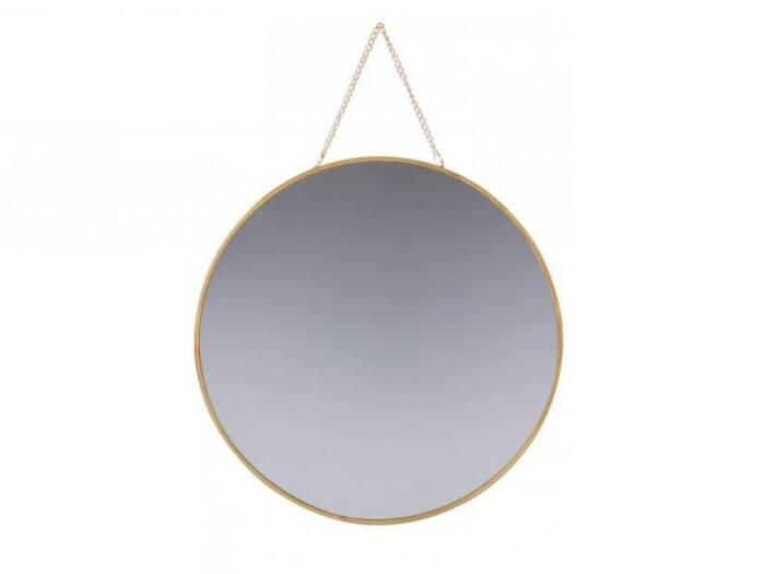 Διακοσμητικός Καθρέπτης Στρογγυλός με αλυσίδα και μεταλλικό πλαίσιο σε χρυσό χρώμα διαμέτρου 29 εκατοστών - Urban Living