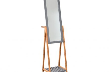 Bamboo Ξύλινος Ολόσωμος Καθρέφτης Δαπέδου με ράφι