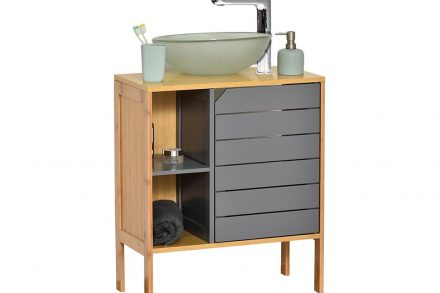 Bamboo/MDF Ξύλινο Έπιπλο Μπάνιου με ένα ντουλάπι