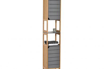 Bamboo Ξύλινο Έπιπλο Μπάνιου με 2 ντουλάπια και 2 ράφια