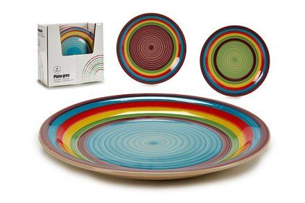 Στρογγυλό Επίπεδο Πιάτο από Πορσελάνη σε ουράνιο τόξο χρώμα