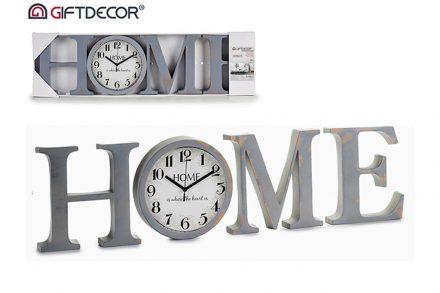 """Ξύλινο Επιτοίχιο Ρολόι """"HOME"""" σε γκρι χρώμα"""
