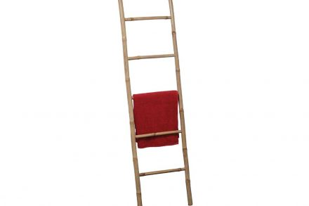 Bamboo Ξύλινη Κρεμάστρα Σκάλα για Πετσέτες Μπάνιου με 5 ράγες