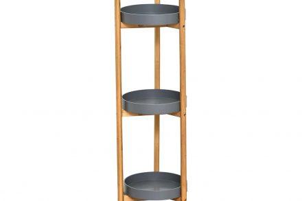 Bamboo Ξύλινη Ραφιέρα Μπάνιου με 3 στρογγυλά ράφια