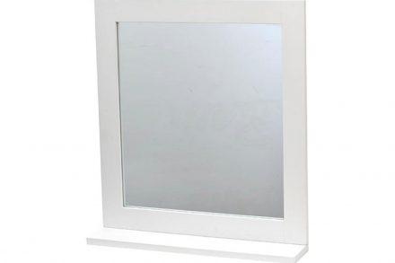 Τετράγωνος Καθρέφτης Μπάνιου με σκελετό MDF ξύλου και ράφι