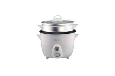 Sogo Ατμομάγειρας - Παρασκευαστής ρυζιού 1.5L 500W με Εξωτερικό Καλάθι Αλουμινίου και Γυάλινο Καπάκι