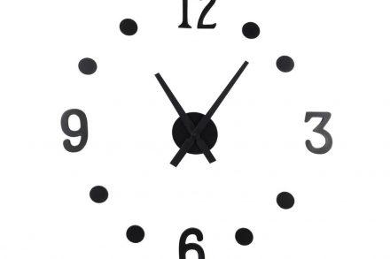Μοντέρνο Ρολόι Τοίχου Αυτοκόλλητο DIY με Μαύρες ενδείξεις