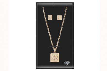 Pierre Cardin PCDXX8021 Σετ Κοσμημάτων Σκουλαρίκια Κολιέ από Ανοξείδωτο Ατσάλι σε Roze Gold χρώμα - Pierre Cardin