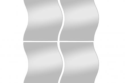 Σετ Καθρέφτες 4 τεμαχίων με μοντέρνο σχέδιο με κυματισμό και διαστάσεις 29x37 εκατοστά - Cb