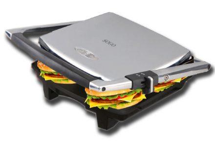 Sogo Τοστιέρα γκριλιέρα (grill) Σαντουιτσιέρα 2000W με Λαβή και Επίπεδες πλάκες